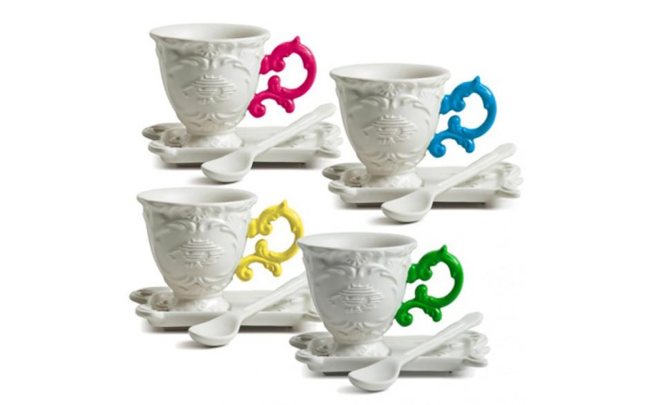 """Set da caffè in porcellana """"I - Wares"""" - Seletti - manico azzurro"""