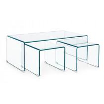 Set 3 Tavolino Iride Rettangolare Vetro