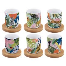 Set 6 Tazzine e Piattini Bamboo Tropical Vibes