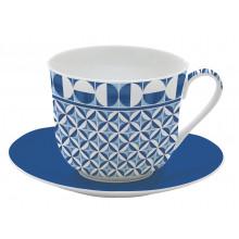Tazza Colazione Geometric Blu