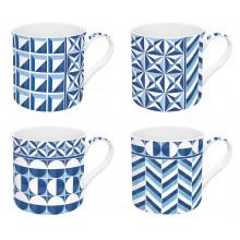 Set 4 Tazze Geometric Blue