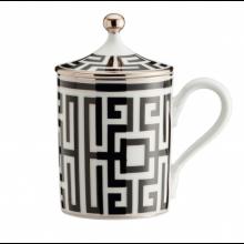 Mug con Coperchio Labirinto Nero
