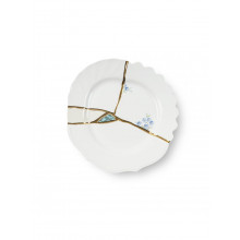 Kintsugi Dessert plate fiori blu