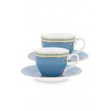 la majorelle set/2 espresso cups & saucers blue